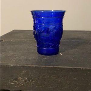 Vntg. cobalt blue candle holder or bathroom cup